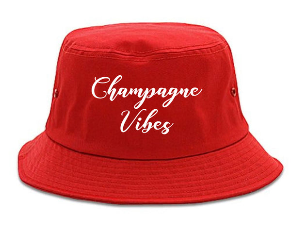 Champagne Vibes Only red Bucket Hat