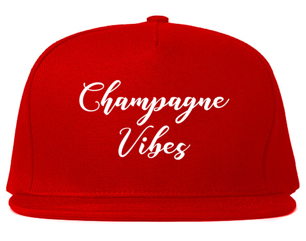 Champagne Vibes Only Red Snapback Hat