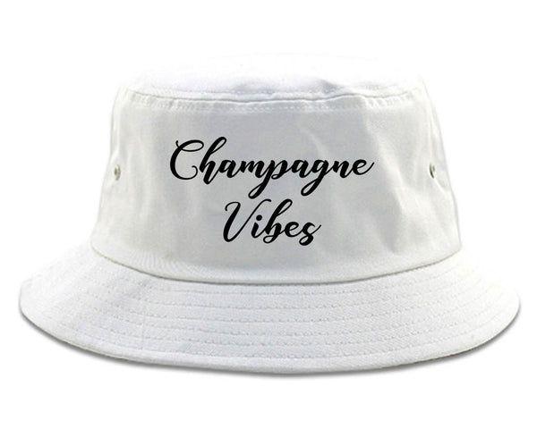 Champagne Vibes Only white Bucket Hat