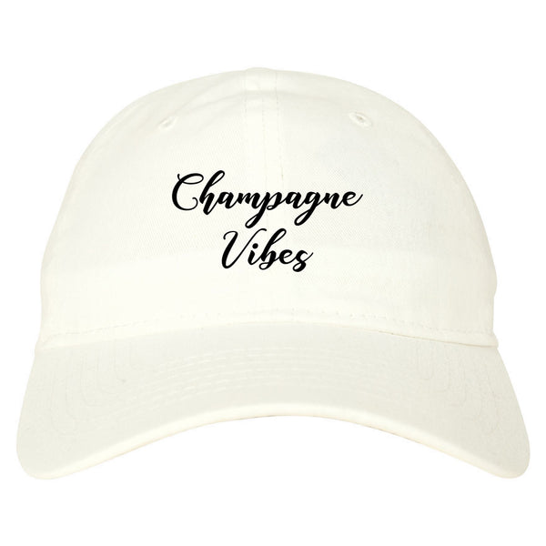 Champagne Vibes Only white dad hat
