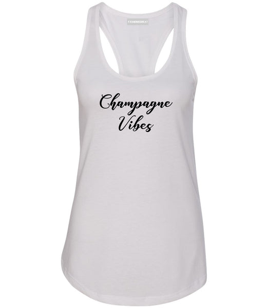 Champagne Vibes Only White Womens Racerback Tank Top