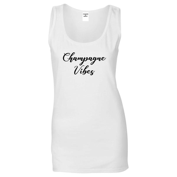Champagne Vibes Only White Womens Tank Top