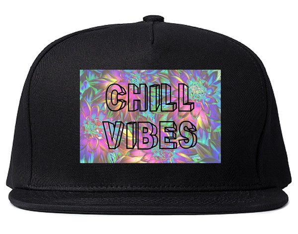 Chill Vibes Trippy Black Snapback Hat