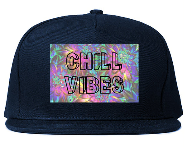 Chill Vibes Trippy Blue Snapback Hat