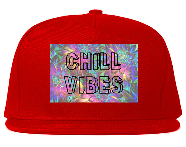 Chill Vibes Trippy Red Snapback Hat