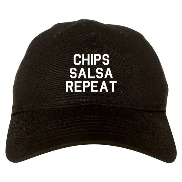 Chips Salsa Repeat Funny Food Black Dad Hat