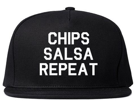 Chips Salsa Repeat Funny Food Black Snapback Hat