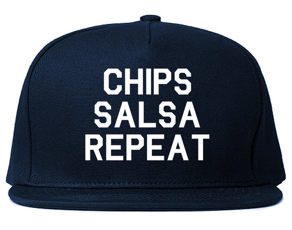 Chips Salsa Repeat Funny Food Blue Snapback Hat