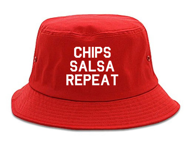 Chips Salsa Repeat Funny Food Red Bucket Hat