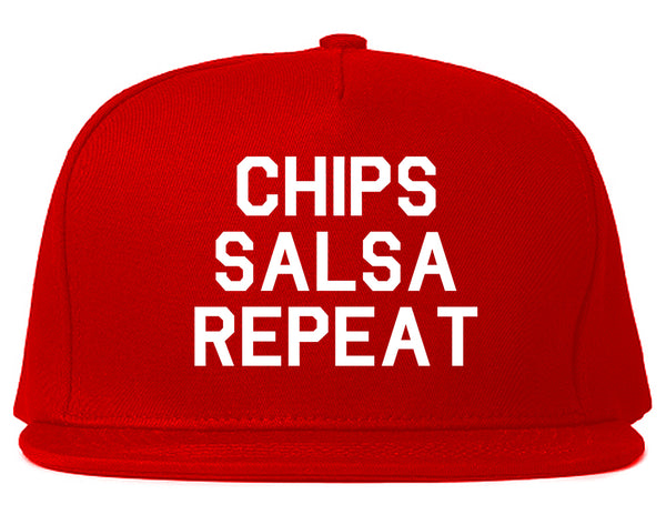 Chips Salsa Repeat Funny Food Red Snapback Hat