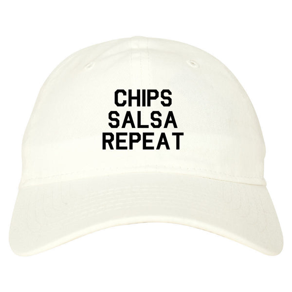 Chips Salsa Repeat Funny Food White Dad Hat