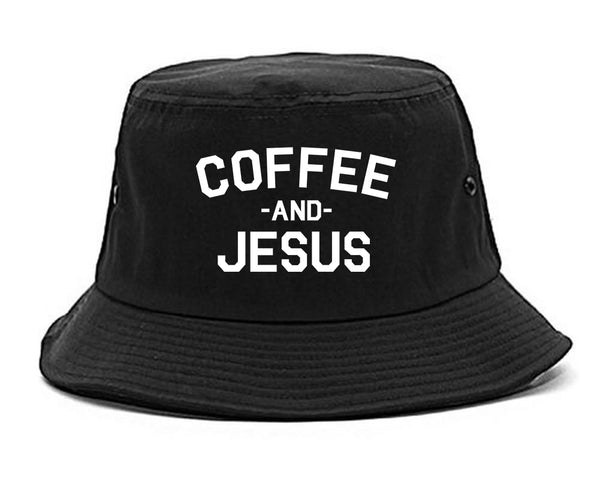 Coffee And Jesus Religious Black Bucket Hat