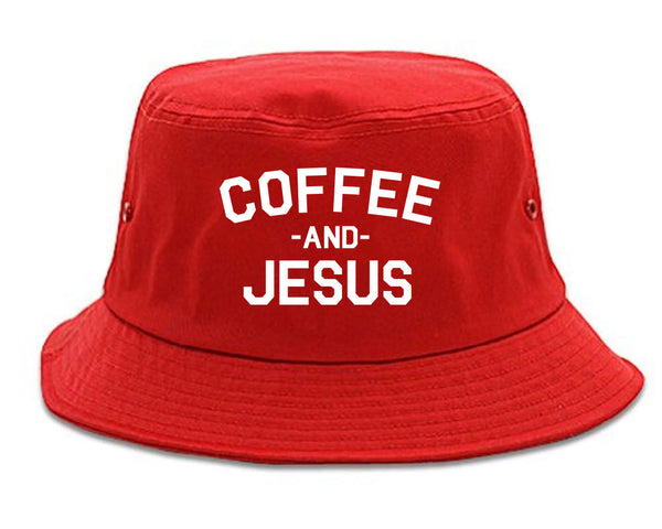 Coffee And Jesus Religious Red Bucket Hat