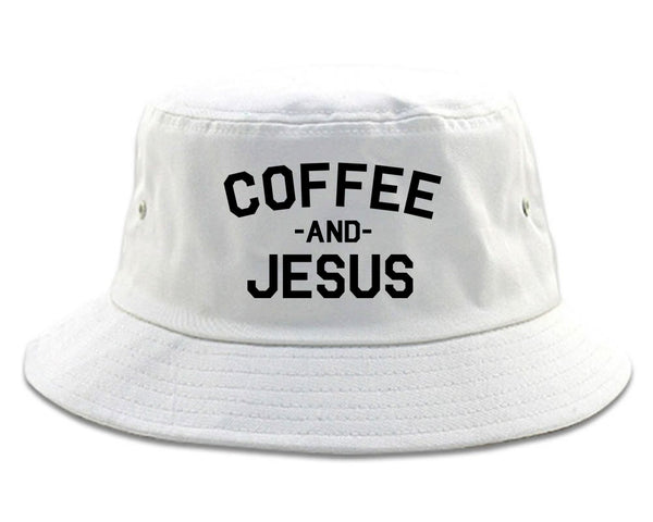 Coffee And Jesus Religious White Bucket Hat