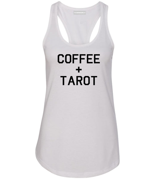 Coffee And Tarot Cards White Womens Racerback Tank Top