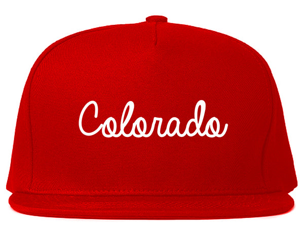 Colorado CO Script Chest Red Snapback Hat