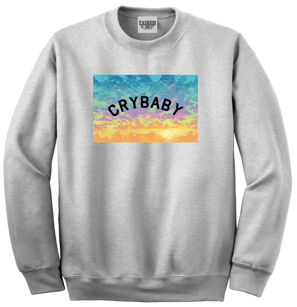 Crybaby Tie Dye Box Grey Womens Crewneck Sweatshirt