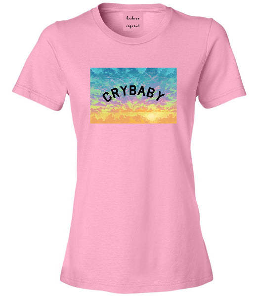 Crybaby Tie Dye Box Pink Womens T-Shirt