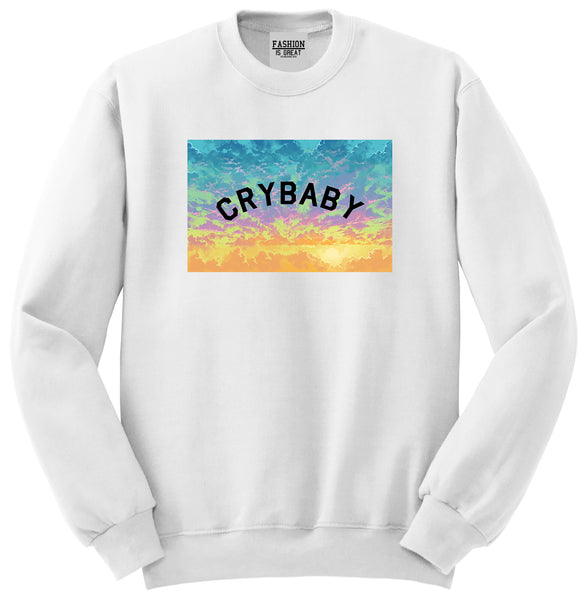 Crybaby Tie Dye Box White Womens Crewneck Sweatshirt