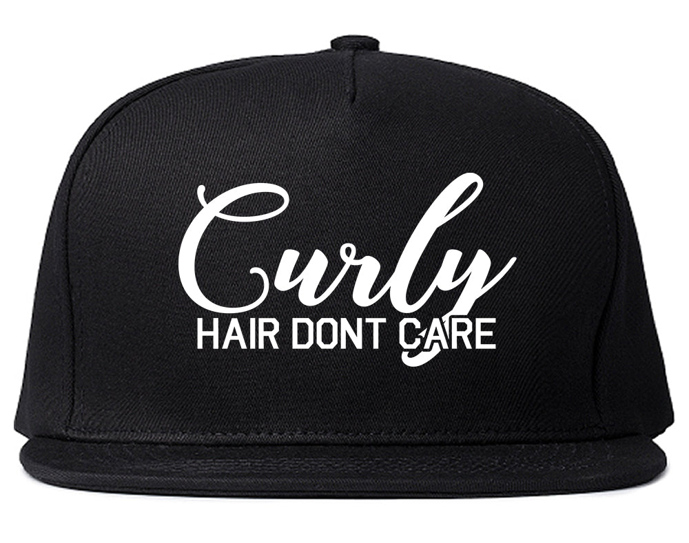 Curly Hair Dont Care Black Snapback Hat