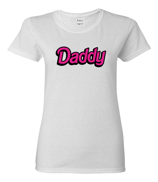 Daddy Pink Womens Graphic T-Shirt White