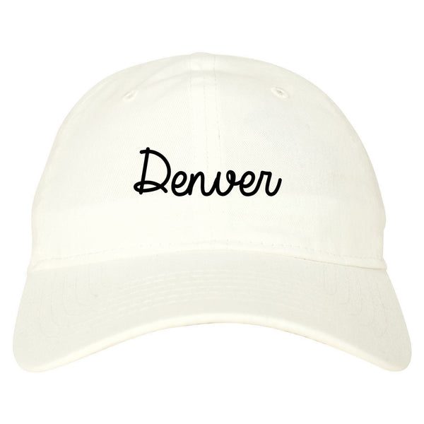 Denver Colorado Script Chest white dad hat