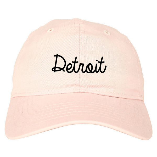 Detroit Michigan Script Chest pink dad hat