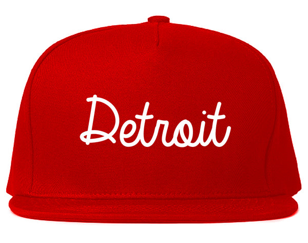 Detroit Michigan Script Chest Red Snapback Hat