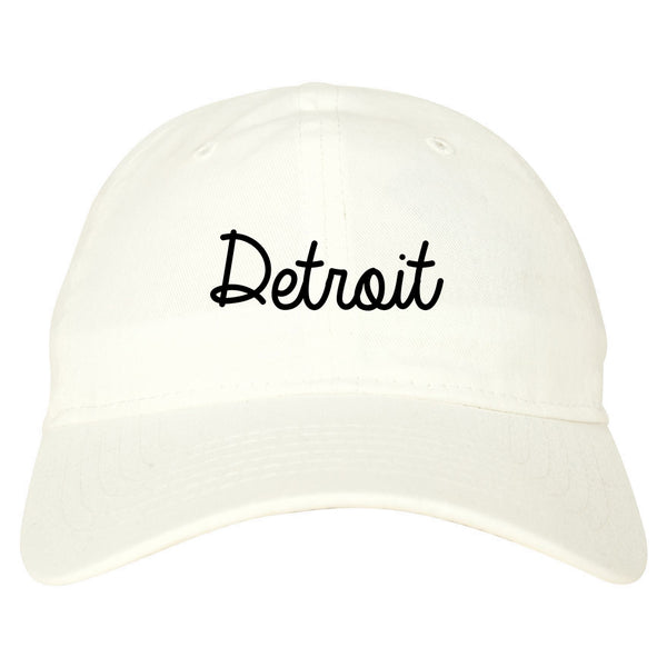 Detroit Michigan Script Chest white dad hat