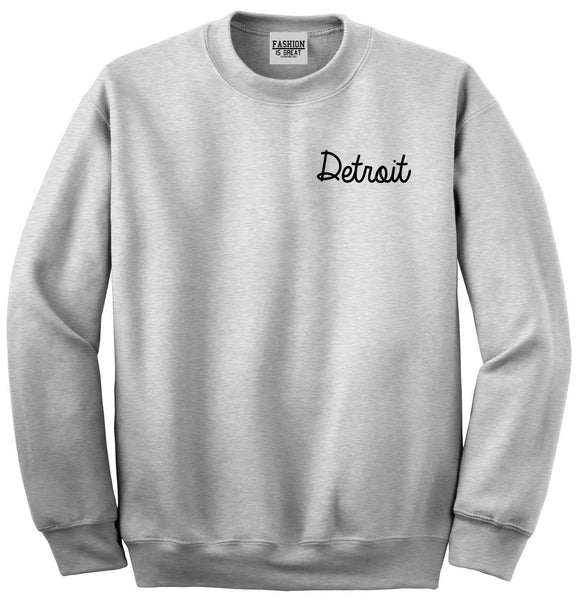 Detroit Michigan Script Chest Grey Womens Crewneck Sweatshirt