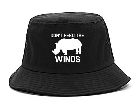 Dont Feed The Winos Wine Rhino black Bucket Hat