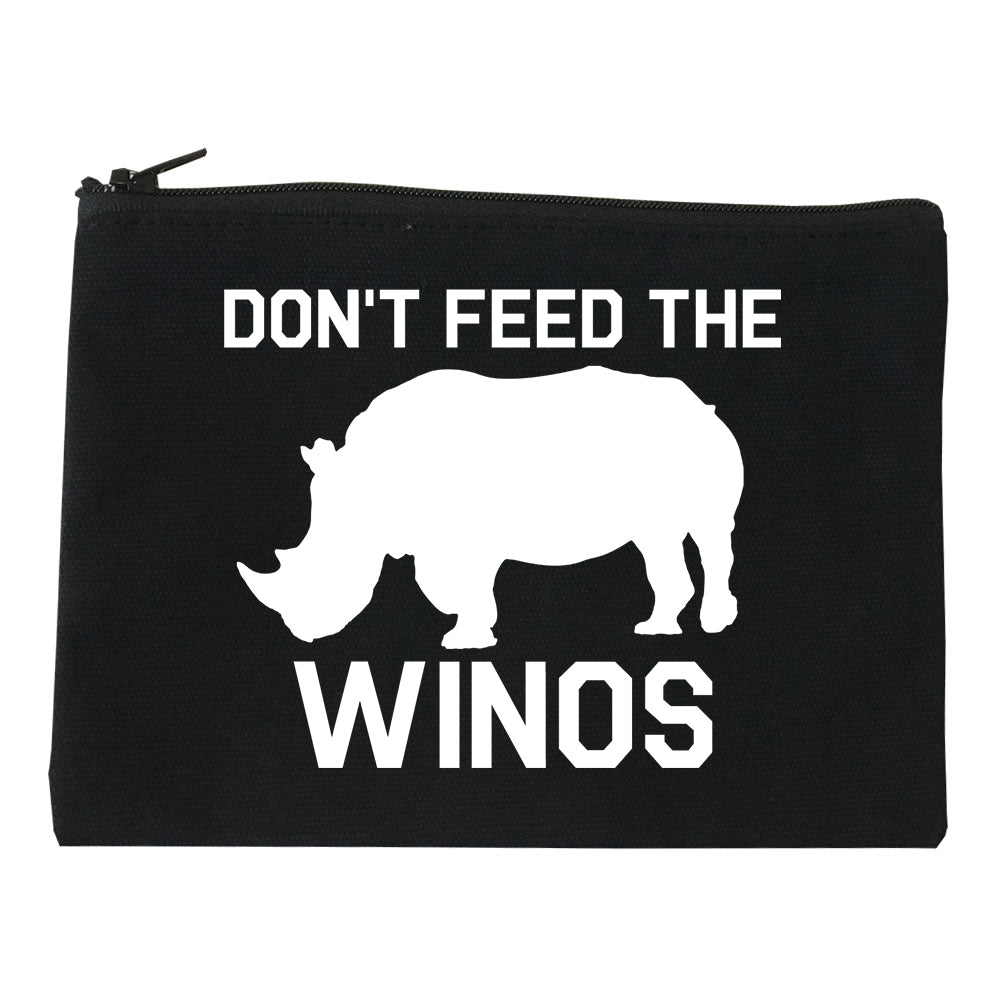 Dont Feed The Winos Wine Rhino black Makeup Bag