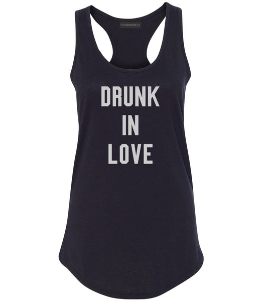 Drunk In Love Bachelorette Black Womens Racerback Tank Top