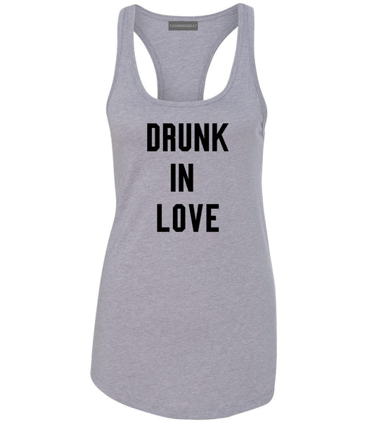 Drunk In Love Bachelorette Grey Womens Racerback Tank Top