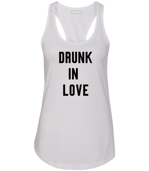 Drunk In Love Bachelorette White Womens Racerback Tank Top