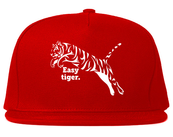 Easy Tiger Funny Animal Snapback Hat Red