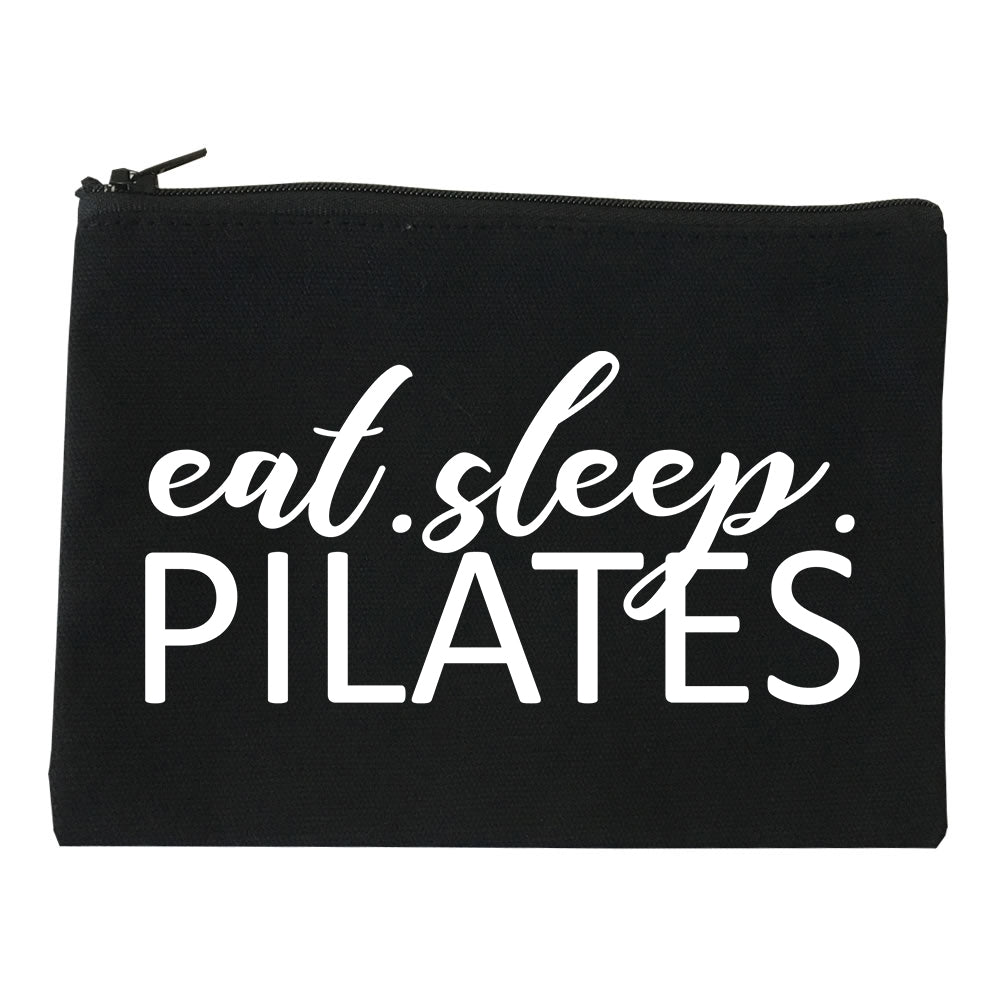 Eat Sleep Pilates Yoga Black Makeup Bag