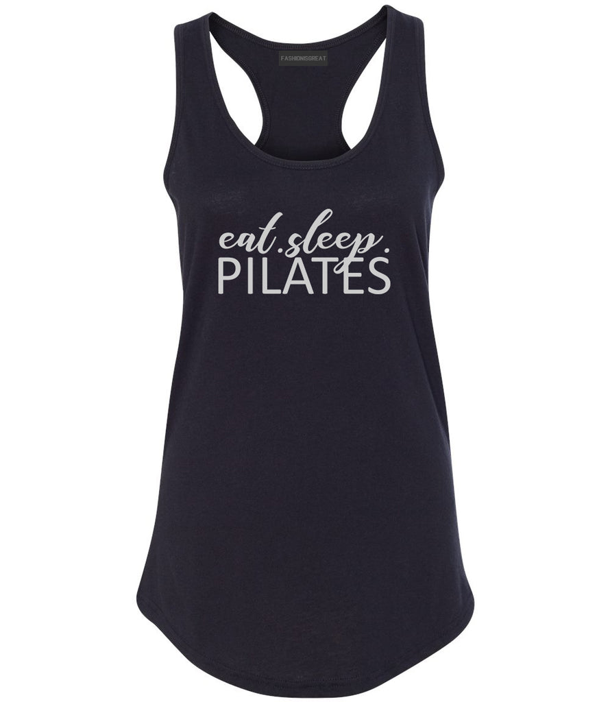 Eat Sleep Pilates Yoga Black Racerback Tank Top