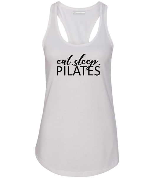 Eat Sleep Pilates Yoga White Racerback Tank Top
