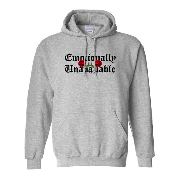 Emotionally Unavailable Roses Grey Womens Pullover Hoodie