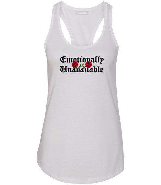 Emotionally Unavailable Roses White Womens Racerback Tank Top