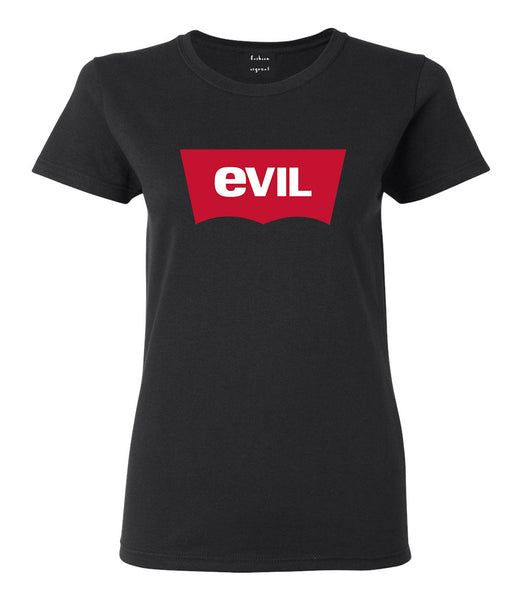Evil Jeans Logo Womens Graphic T-Shirt Black
