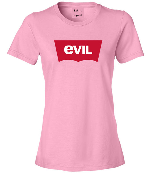 Evil Jeans Logo Womens Graphic T-Shirt Pink