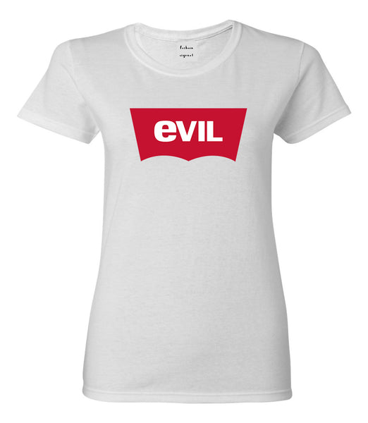 Evil Jeans Logo Womens Graphic T-Shirt White