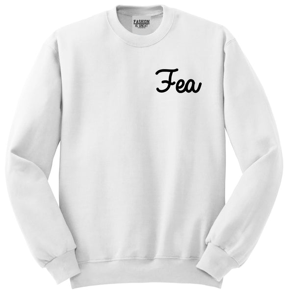Fea Ugly Spanish Chest White Womens Crewneck Sweatshirt