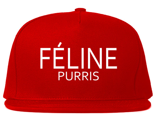 Feline Purris Funny Cat Snapback Hat Red