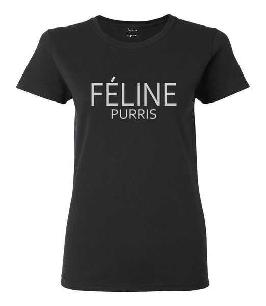 Feline Purris Funny Cat Womens Graphic T-Shirt Black