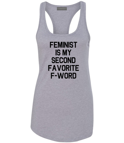 Feminist F Word Funny Grey Womens Racerback Tank Top