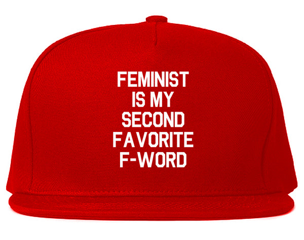 Feminist F Word Funny Red Snapback Hat