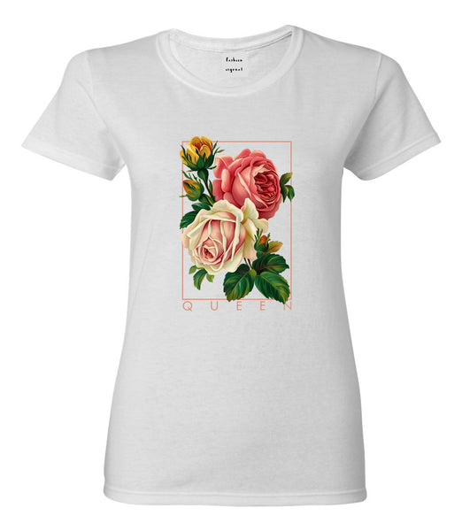 Flower Queen Pink Roses Womens Graphic T-Shirt White